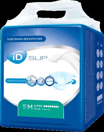 Подгузники д/взрослых ID Slip М Super 10 шт (7631)