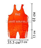 Борцовское трико GF-174-A с надписью KAZ и языками пламени размеры S - 5XL  красное L (130 р)