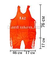 Борцовское трико GF-174-A с надписью KAZ и языками пламени размеры S - 5XL  красное 5XL (180 р)