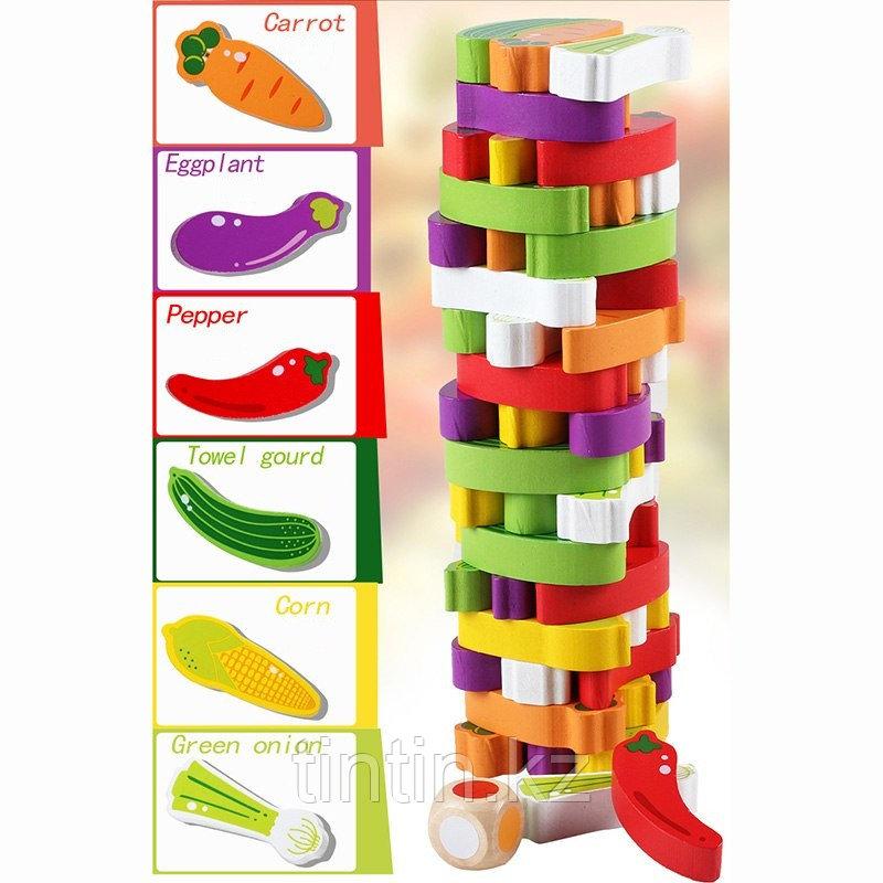 Настольная игра - Овощная башня, 54 брусков