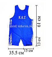 Борцовское трико GF-174-A с надписью KAZ и языками пламени размеры S - 5XL синий L (130 р)