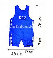 Борцовское трико GF-174-A с надписью KAZ и языками пламени размеры S - 5XL синий 5XL (180 р)