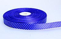 Лента упаковочная, в горошек, синий, 1.5 см, фото 1