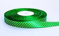 Лента упаковочная, в горошек, зеленая, 1.5 см