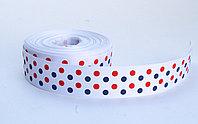 Лента  репсовая (из плотной ткани), в горошек, белая, 2 см , фото 1