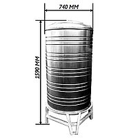 Емкость вертикальная ALSI 304 0.5 мм 1590 х 780