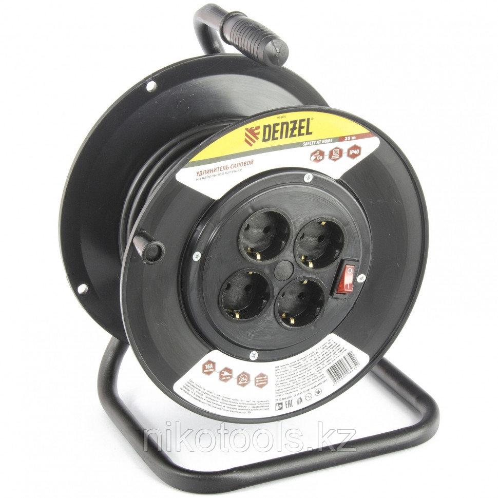 Удлинитель силовой на кабельной катушке, 25 м, 4 розетки, 16 А, серия УХз16. DENZEL