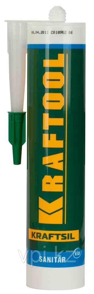 Герметик силиконовый прозрачный, санитарный, для помещений с повышенной влажностью, 300мл.  Kraftool 41255-2