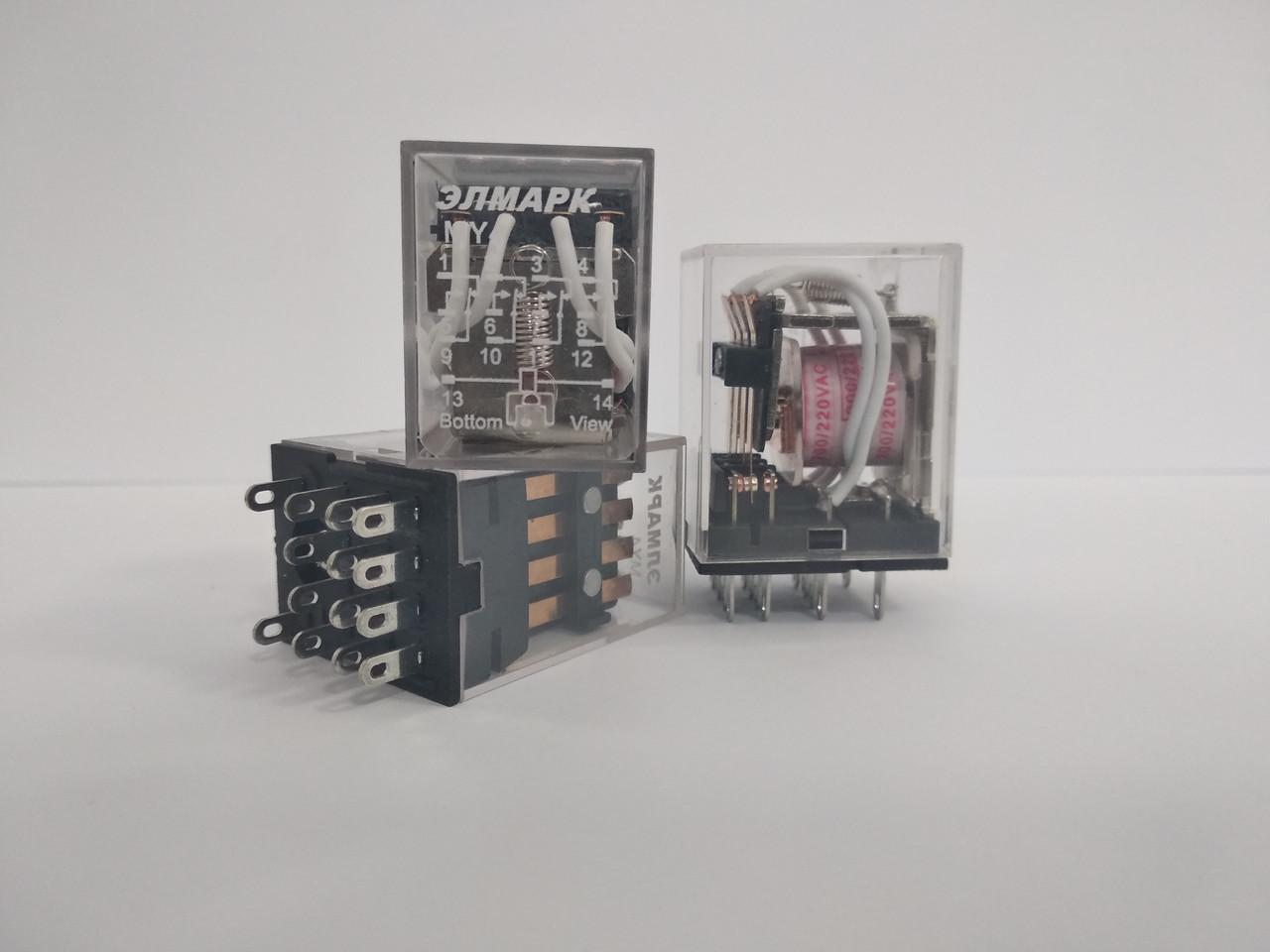 Реле промежуточное MY-4 РПЛ4-5А AC 220V, 4 пары контактов 5А