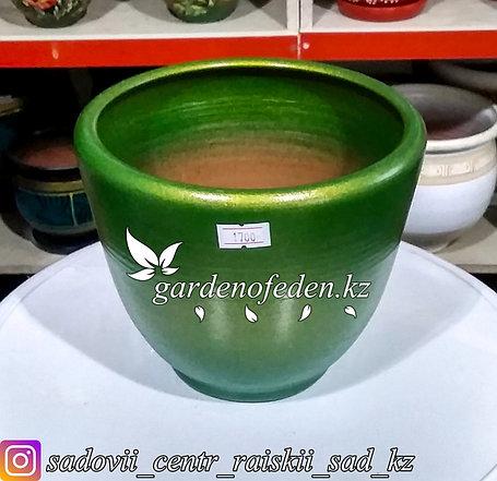 Керамический горшок для цветов. Объем: 1л. Цвет: Зеленый., фото 2