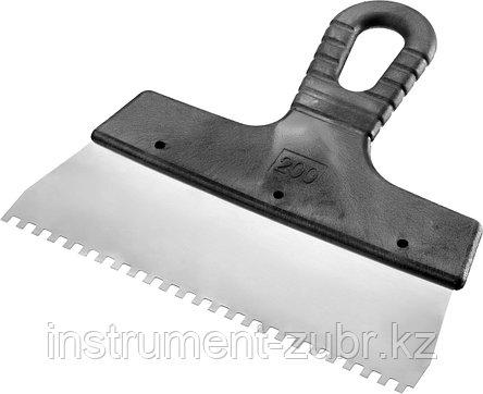 Шпатель нержавеющий СИБИН зубчатый, с пластмассовой ручкой, зуб 4х4мм, 200мм, фото 2