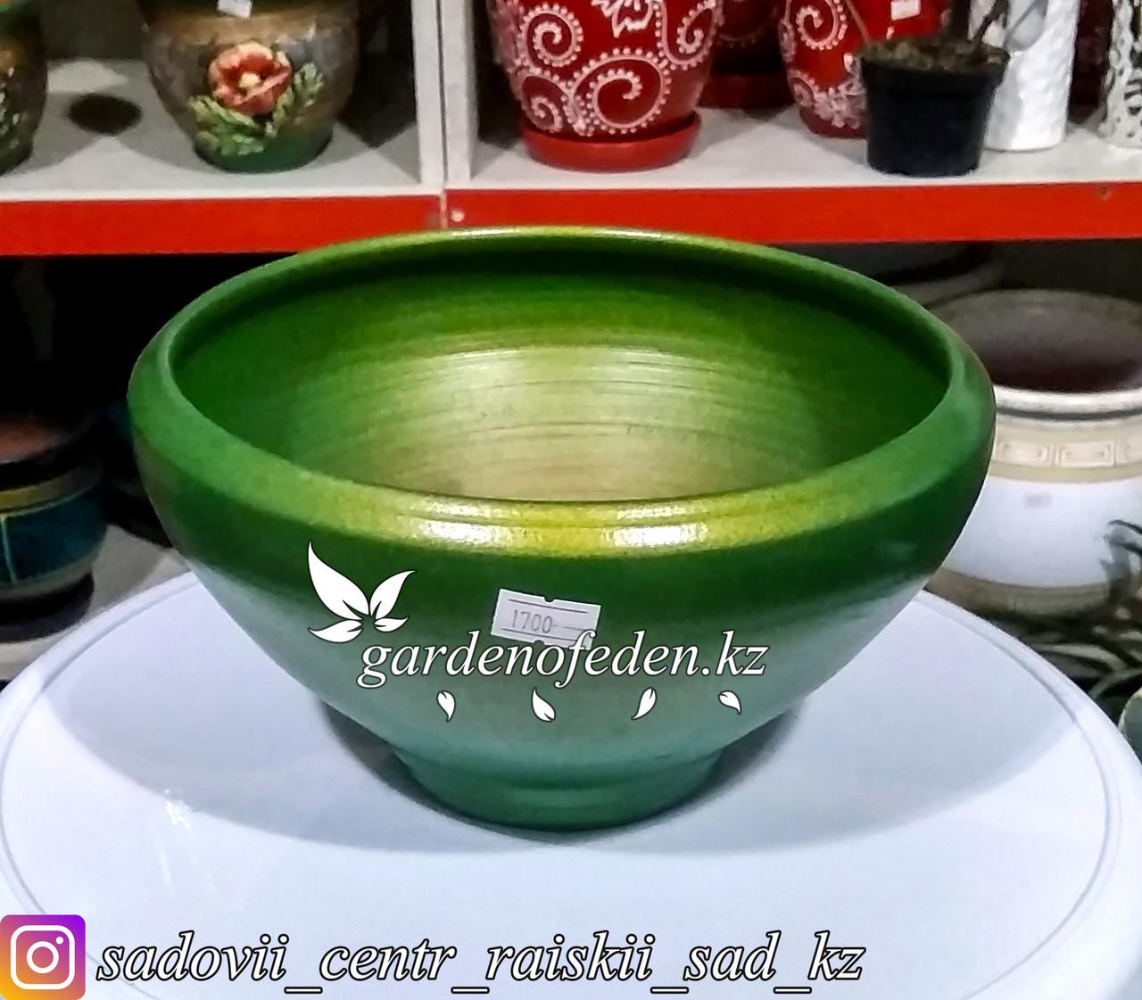 Керамический горшок для Бонсай и суккулентов. Объем: 1л. Цвет: Зеленый.