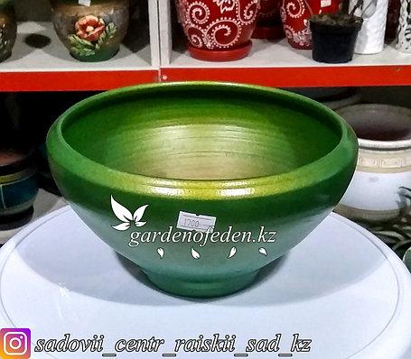 Керамический горшок для Бонсай и суккулентов. Объем: 1л. Цвет: Зеленый., фото 2