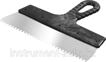 Шпатель нержавеющий СИБИН зубчатый, с пластмассовой ручкой, зуб 4х4мм, 250мм, фото 2