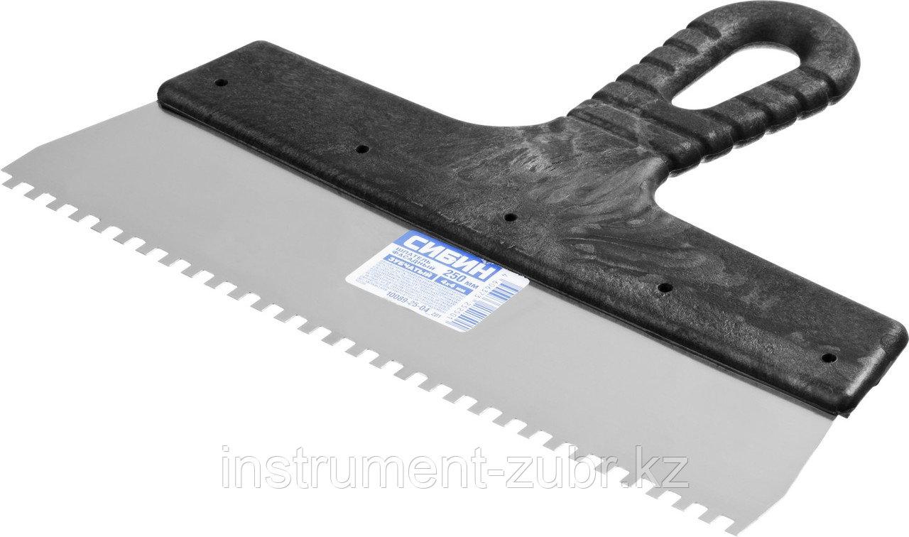 Шпатель нержавеющий СИБИН зубчатый, с пластмассовой ручкой, зуб 4х4мм, 250мм