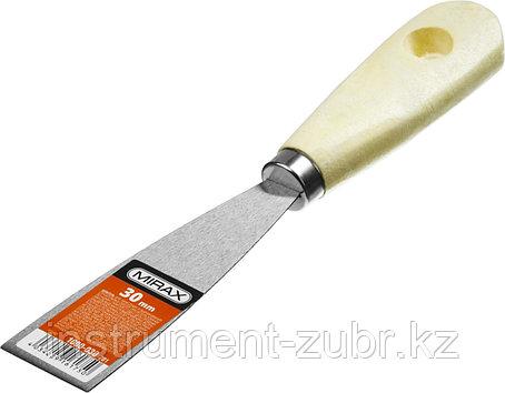Шпатель стальной 30 мм, деревянная ручка, MIRAX, фото 2