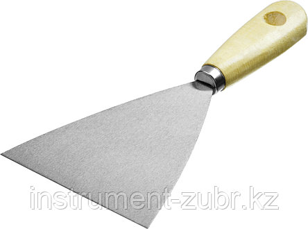 Шпатель стальной 100 мм, деревянная ручка, MIRAX, фото 2