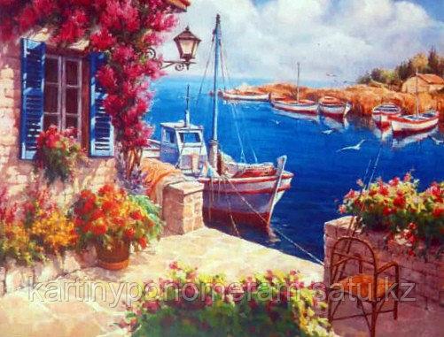 """Картина по номерам """"Лодочка у дома с цветами"""""""