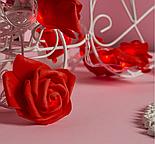 """НИТЬ с насадками 5 м """"Розы красные"""" 7 см, Н. С. УМС вилка, 20 LED-220V, фиксинг,КРАСНЫЙ , фото 2"""