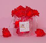 """НИТЬ с насадками 5 м """"Розы красные"""" 7 см, Н. С. УМС вилка, 20 LED-220V, фиксинг,КРАСНЫЙ , фото 3"""