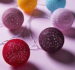 Гирлянда «Нить», 5 м, с насадками «клубки цветных ниток» (6 см), 20 LED, 220 В, фиксинг, свечение белое , фото 2