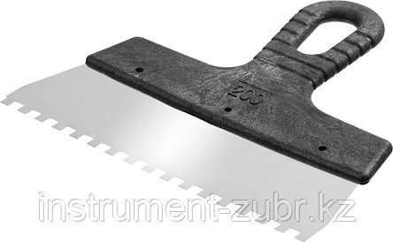Шпатель нержавеющий СИБИН зубчатый, с пластмассовой ручкой, зуб 6х6мм, 200мм, фото 2