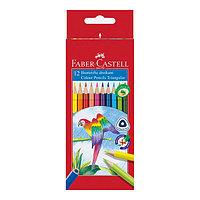 Карандаши цветные, трехгранные, 12 цветов, в картонной коробке.