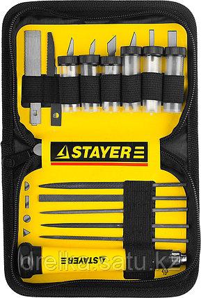 """Набор STAYER Нож """"MASTER"""" для точных работ в комплекте с лезвиями различной формы и надфилями, в чехле,38 пред, фото 2"""