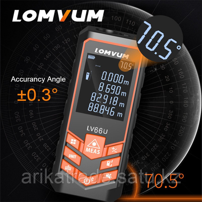 Лазерная рулетка с измерением угла (100 метров)