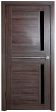 Дверь Техно 2, цвет Дуб серый, чёрное стекло
