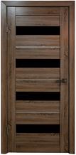 Дверь Техно 4, цвет Дуб серый, чёрное стекло