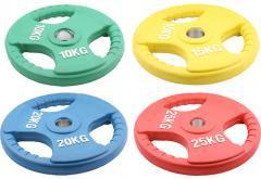 Олимпийский диск евро-классик с тройным хватом, блины для штанги D=50мм. (15+15кг)