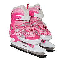 Раздвижные коньки розовые с меховой подкладкой In Line Skate (GF-129) 28-33 р