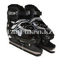 Раздвижные коньки черные с меховой подкладкой In Line Skate (GF-129) 38-43 р