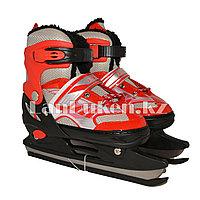 Раздвижные коньки красные с меховой подкладкой In Line Skate (GF-129) 34-39 р