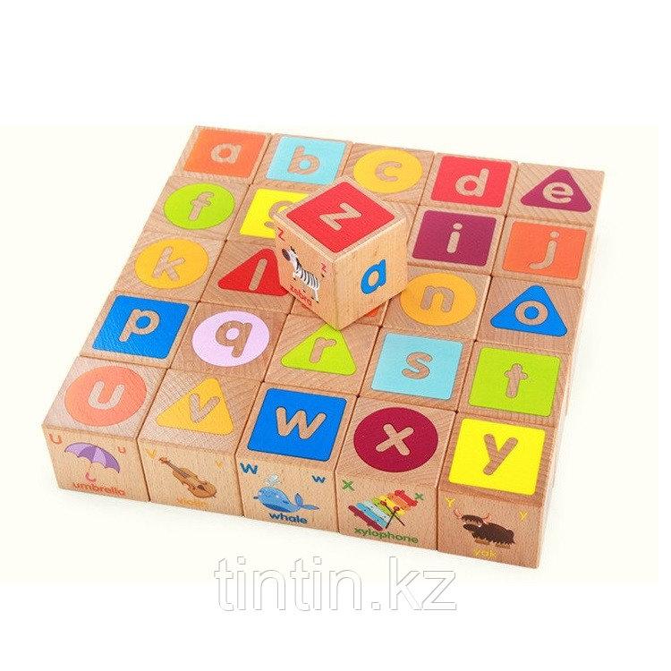 Деревянные кубики английский алфавит (26 шт)