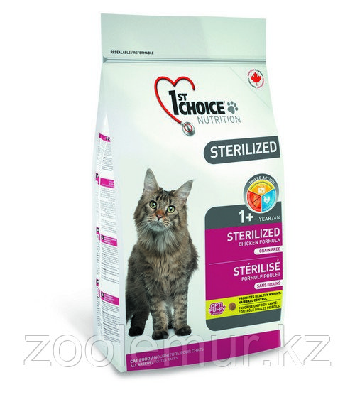 1st Choice Sterilized «Курица с бататом» сухой корм для стерилизованных взрослых кошек  5 кг.
