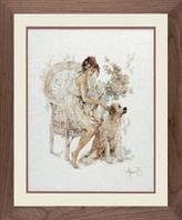 """Набор для вышивания крестом """"Девушка в кресле с собакой """""""