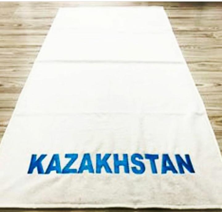 Полотенце махровое (цвет белый) надпись KAZAKHSTAN