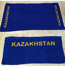 Полотенце махровое(цвет синее) надпись KAZAKHSTAN
