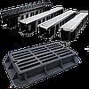Лоток водоотводный пластиковый с решеткой стальной А15 DN 90 в комплекте длина 1000 ширина 100 высота 80