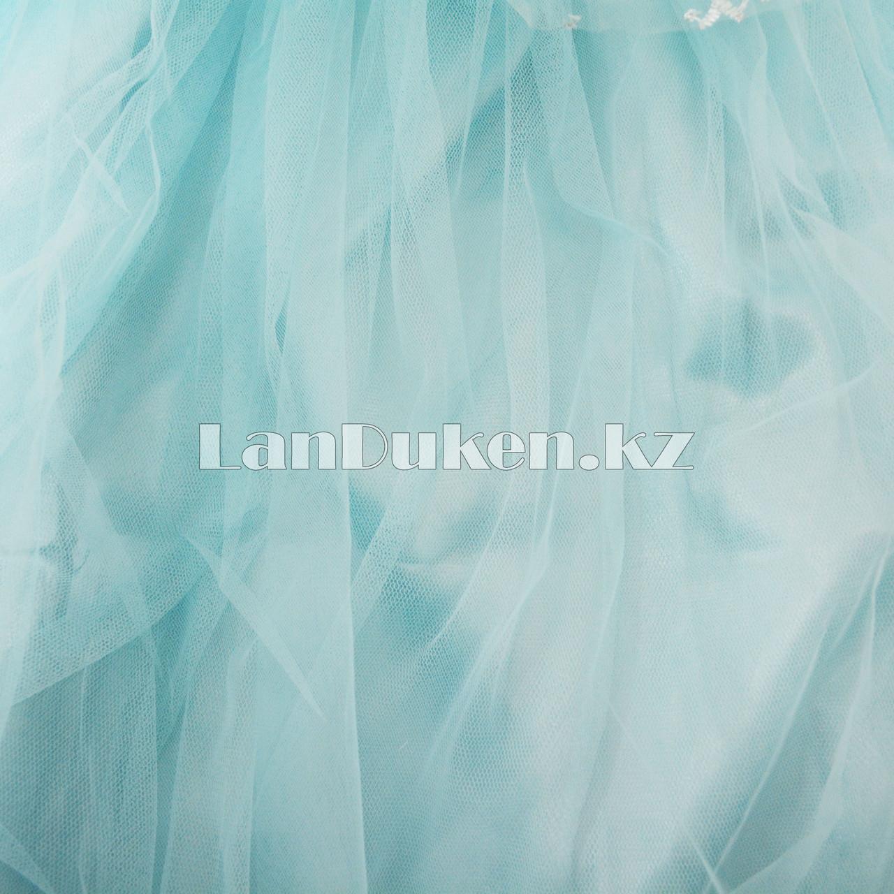 Костюм Эльзы (Холодное Сердце) с аксессуарами (корона и палочки с 3 режимами) - фото 6