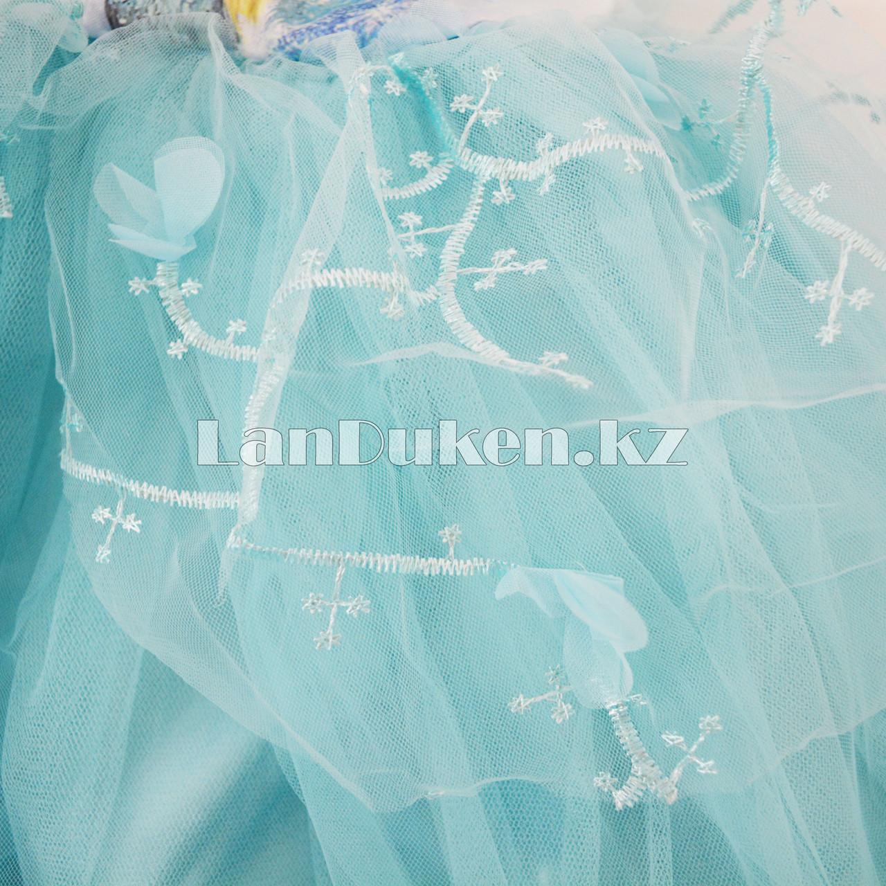 Костюм Эльзы (Холодное Сердце) с аксессуарами (корона и палочки с 3 режимами) - фото 5