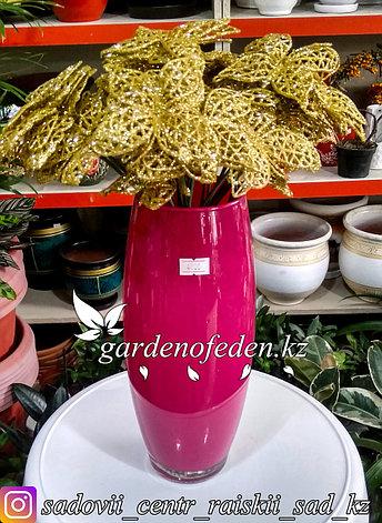 Стеклянная, декоративная ваза. Высота 25см. Цвет: Розовый., фото 2