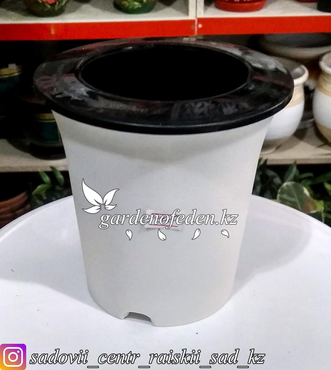 Пластиковое кашпо для цветов с авто (фетильным) поливом. Объем: 1л. Цвет: Белый.