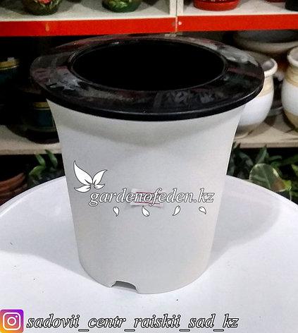 Пластиковое кашпо для цветов с авто (фетильным) поливом. Объем: 1л. Цвет: Белый., фото 2