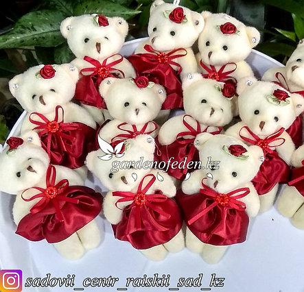 Букетные игрушки - мишки в бордовом платье., фото 2