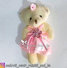 Букетные игрушки - мишки в розовом платье.