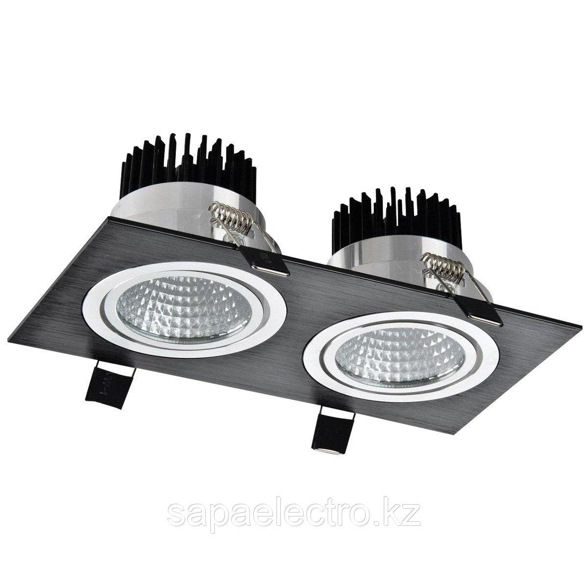 Свет-к LED OC002B 2х5W 5000K BLACK (TS) 50шт