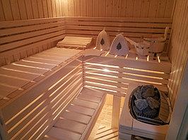 """Сборная финская сауна в частном доме. Индивидуальное изготовление. Размер = 2,0 х 1,5 х 2,1 м. Адрес: г. Алматы, к.г. """" Bella Villa"""". 10"""